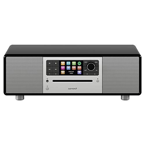 sonoro Prestige 2.1 Kompaktanlage (UKW/FM/DAB+/WLAN, CD-Player, AUX-in, aptX Bluetooth, Spotify Connect) Schwarz - Digital Internet-Radio -