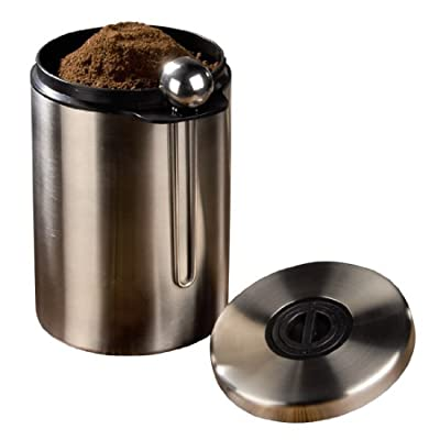 Xavax Coffee Tin/Tea Caddy (Stainless Steel, Air Tight Stopper Stainless Steel Clear Lid – Silver