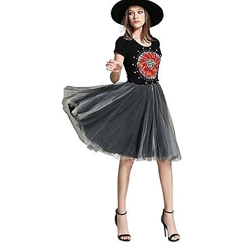 misseurous mujeres de girasol con cuentas bordado Top y Falda de tul vestido de Midi
