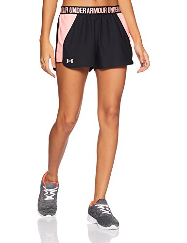 Under Armour Damen Play Up Shorts 2 Kurze Hose, schwarz(Black / Cape Coral / Cape Coral (008)), L -