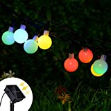 Lvyleaf Solar Lichterkette Außen mit 50 LED Kugel, 5m Bunt LED lichterketten mit 8 Modi Wasserdicht Weihnachtsbeleuchtung für Garten, Party, Bäume, Hochzeit (bunt)