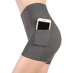 YOUCHAN Leggings Mujer Pantalon Yoga Deportivo Alta Cintura Corto Opaco con Bolsillo-GRIS-S