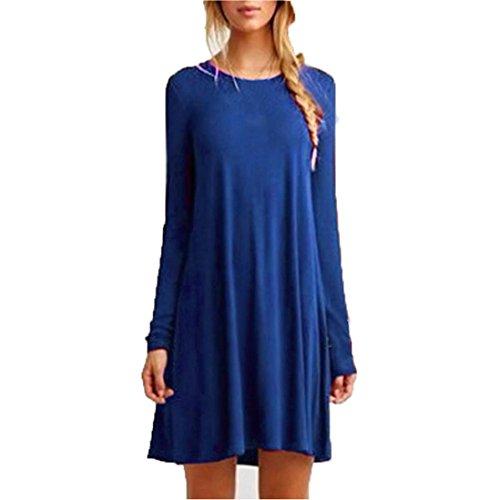 Rcool Lässige lose O-Ausschnitt lange Ärmel Rüschen Mini Partykleid für Frauen Damen (XXL, Blau) (Leder-tülle Blaue)