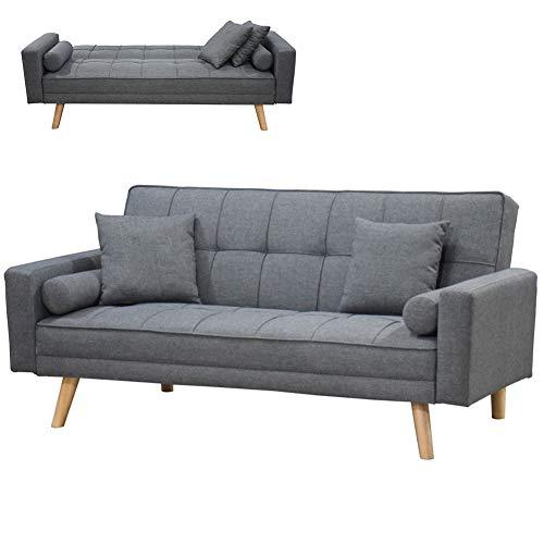 Bakaji divano letto clic clac 3 posti struttura in legno rivestimento con braccioli in tessuto trapuntato imbottito piedini letto a scomparsa e 4 cuscini dimensione 188 x 87 x h88 cm (grigio pietra)