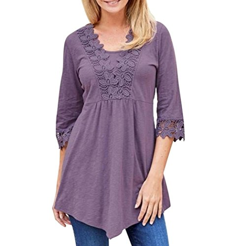 Manadlian - T-shirts Femmes Top Blouse Casual Basique Solide Couture Stitching T-Shirt à Manches Violet