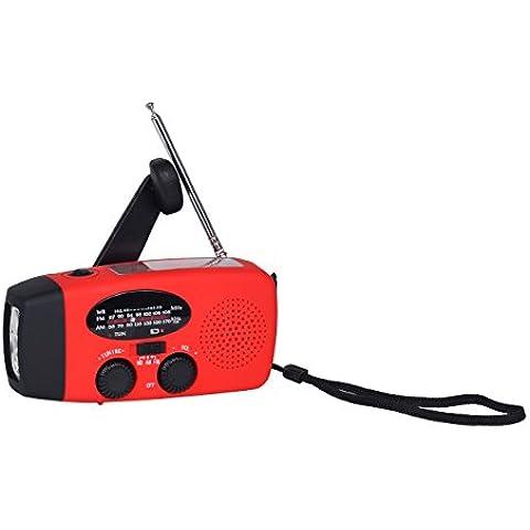 yiyu Radio solare radio portatile ricaricabile a manovella con LED