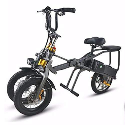 Quino Elektrisches Dreirad für Erwachsene Faltbare DREI Räder Elektrischer Mountain Bike Miniroller Bis zu 30 km 25 km/h Lithium-Batterie DREI Geschwindigkeitsmodi Big Wheels Sport
