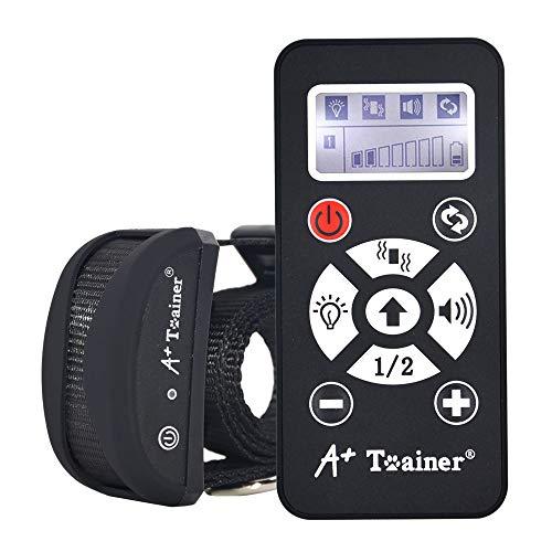 A + Trainer 800 Yards Collare per cani a distanza Collare ricaricabile per auto anti-abbagliamento con automazione regolabile, bip, vibrazione e torcia elettrica per cani di tutte le taglie