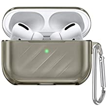 ESR Upgrade Clear Carrying Case for AirPods Pro Case 2019, Air Ripple Protective TPU Cover with Keychain [Won't Affect Wireless Charging] [Visible Front LED] [Dust & Shock-Resistant], Clear Black