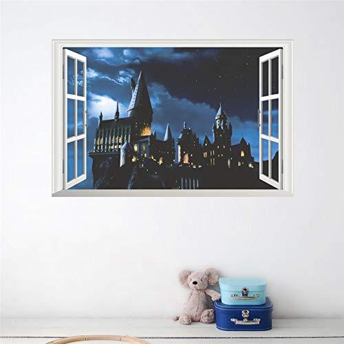412tnlE2mnL - 3d ventana castillo etiqueta de la pared decal harry potter pvc tatuajes de pared cartel mural arte decoración para el hogar