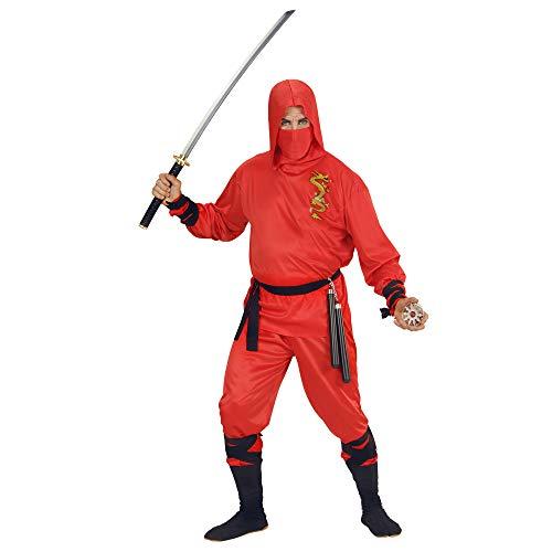 Widmann 01333 - Erwachsenenkostüm Dragon Ninja, Oberteil mit Kapuze, Hose, Gürtel, Gesichtsmaske, rot