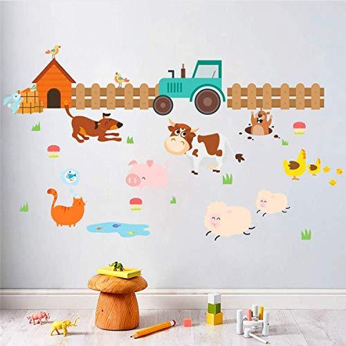 rnhof Hund Katze Schaf Kuh Wandaufkleber Für Kinderzimmer Wohnkultur Cartoon Tiere Wandtattoos Kunst PVC Poster DIY Mural60 * 105 cm ()