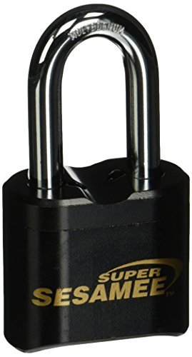Sesamee K637 4 Dial Bottom Resettable Combination Brass Padlock with 2-Inch Shackle and 10,000 Potential Combinations by Sesamee