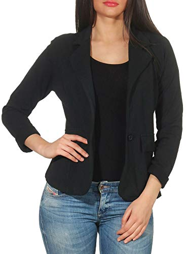 Malito Mujer Chaqueta Jersey Blazer Básico Clásico 1654 (Negro, M)