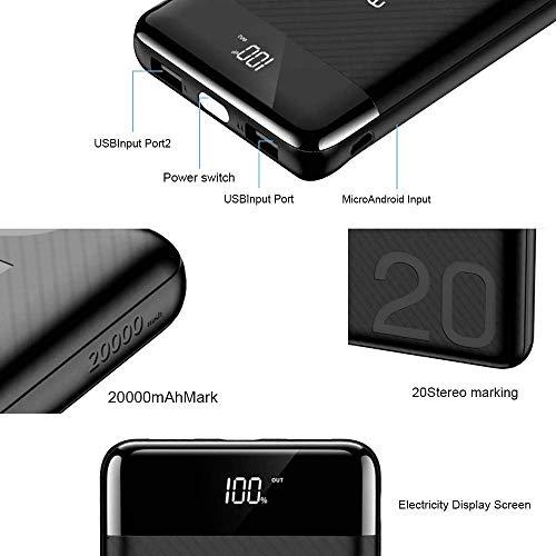 atongm 20000mAh Portable Double USB Port Li-Polymer External Battery Power Bank with Digital Display for Mobile Phones (Black) Image 6