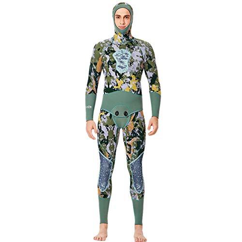 YuanDian Herren 5mm Neopren Camouflage Neoprenanzug Mit Kapuze Zweiteilig Apnoe Anzug Tauchanzug Surfanzug Windsurf Schnorchel Speerfischen Lang Wetsuit Einteilige Weste + Jacke Grün 2XL