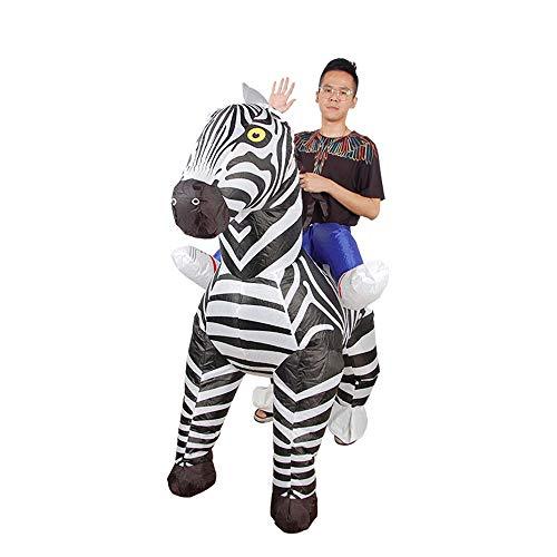 MIMI KING Aufblasbares Zebra-Kostüm, Reiten Tier Cosplay Unisex Erwachsene Halloween Blow Up