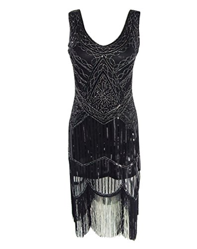 LaoZan Retro - 1920er Gatsby Pailletten Art Deco Scalloped Saum Inspiriert Flapper-Kleid Schwarz L(Büste 35.43 In) (Kind Schwarz Pailletten Flapper Kostüme)