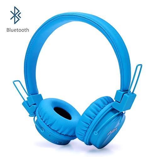 Invech Bluetooth Kinder Kopfhörer mit shareport, Wireless / Wired Noise Cancelling Über-Ohr-Kopfhörer, Faltbare Kinder-Headset mit integriertem Mikrofon zum Anrufen (Blau)