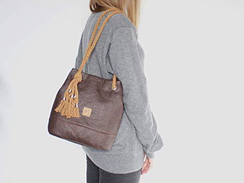 Braune Tasche aus Ananasfaser - Piñatex® - 4