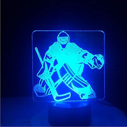 Eishockey Goalie 3D Modellierung Tischlampe 7 Farben Ändern LED Nachtlicht USB Schlafzimmer Schlaf Beleuchtung Sport Fans Geschenke Wohnkultur