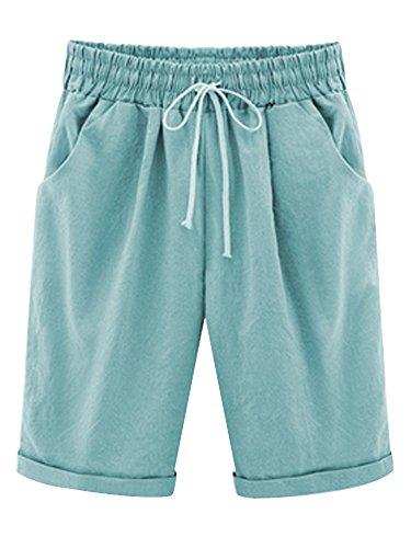 Damen Shorts Freizeit Elastische Taille knielang mit Tunnelzug Azur