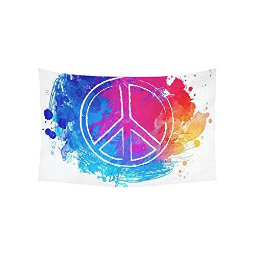 LMFshop Tapiz Paz Hippie Símbolo sobre tapices Coloridos Flor Colgant