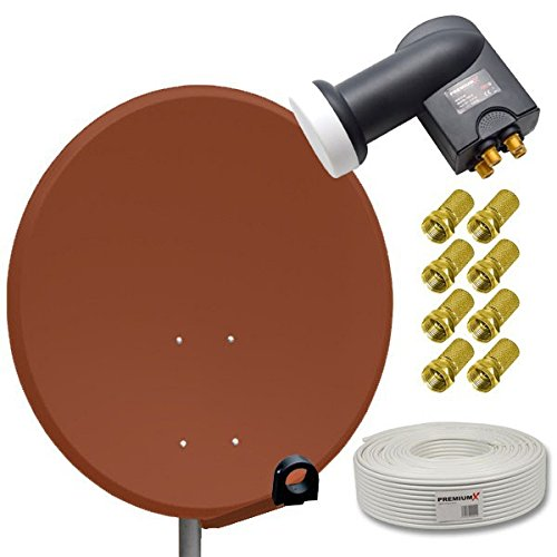 HD Digital Sat Anlage 80cm Stahl Sat Antenne Ziegelrot + Quad LNB 4-Teilnehmer PremiumX + 50m Sat Koaxial Kabel 130dB 4-fach + 8 F-Stecker