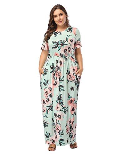 FeelinGirl Damen Lange Kleid Kleider Sommerkleider Maxikleider Blumenkleid Blumedrucken Strandkleid Rundhals High Waist Plus Size, Grün, 5XL(EU 60-62)