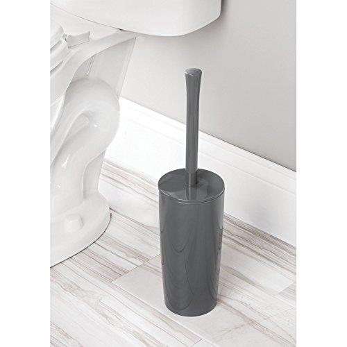 Mdesign scopino bagno in plastica – scopino wc in design classico con porta scopino bagno incluso – ideale per il bagno e per la toilette degli ospiti – grigio ardesia