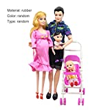 IanqAzwibvd-UK 5 Personen Puppenanzug Schwangere Puppenfamilie Mama + Papa + Baby Sohn + 2 Kinder +...