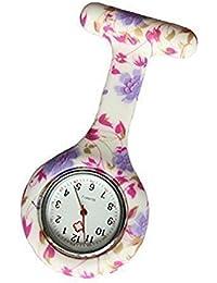 BOOLAVARD Enfermeras Moda de color con dibujos de silicona de goma Fob Relojes - ROUND Pale Purple Flowers