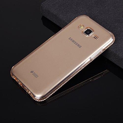 EGO® Luxe Coque arrière en silicone TPU Transparent Strass Transparent pour Galaxy S7 Strass Klar Gold