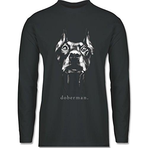 Shirtracer Hunde - Doberman - Herren Langarmshirt Dunkelgrau