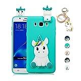 Kawaii-Shop Funda Samsung Galaxy J7 2016 Silicona Cover, La luz Azul Unicornio 3D Squishy Kawaii Juguete Toy Animal Carcasa Inquebrantable Shell para Chicas+Llavero de Unicornio