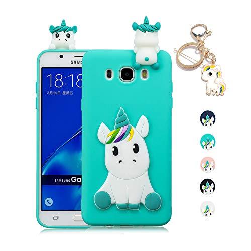 Kawaii-Shop Funda Samsung Galaxy J3 2017 Silicona Cover, La luz Azul Unicornio 3D Squishy Kawaii Juguete Toy Animal Carcasa Inquebrantable Shell para Chicas+Llavero de Unicornio