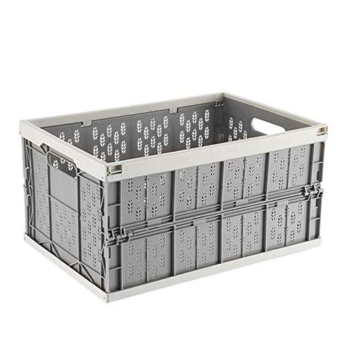 Vlook 2 Unids Plegable Caja de Almacenamiento de Coche Organizador Tronco Cesta Acabado Cajón Plástico Gris Portátil Resistente para Vehículos Familia Vans Travel and Camp (Gris)