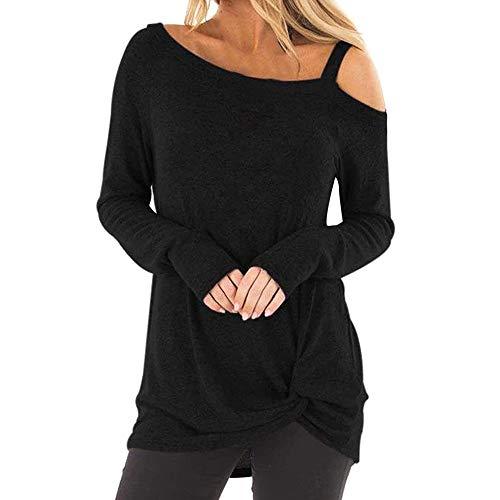 Femmes Mode Chic sans Bretelles Tunic en Vrac Grande Taille Manche Longue O-Cou Pullover Décontractée Solide Sweatshirt Ensemble Asymétrique T-Shirt Hauts Chemisier(L,Noir-1)