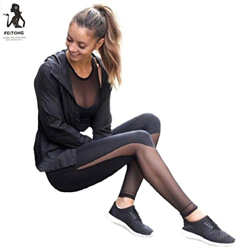 ZEZKT☀Mesh Perspektive Sport Leggings Schwarz Yoga Hosen Fitness Gymnastik Tanz Leggings Strumpfhose Active Running Hosen Ladies Große Mädchen Workout Fitness Pants Skinny (S, Schwarz) (Ärmelloses Top Active)