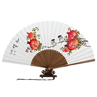 Paper Hand FAN with Yellow Flowers from Korea Decoration Decoration Handmade