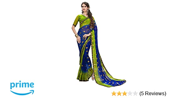 Craftsvilla Chiffon Saree With Blouse Piece Multicolor Free Size