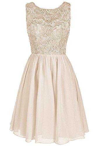 Carnivalprom Damen Chiffon Abendkleider Elegant Spitze HochzeitsKleid Kurz Cocktailkleider Champagner