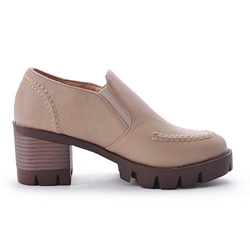 VogueZone009 Femme Couleur Unie Pu Cuir à Talon Bas Rond Tire Chaussures Légeres Beige