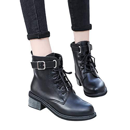 GHEMD Damen Biker Boots Lederstiefel Stiefel Frauen Schnürung Boots Winterstiefel Schnürstiefelett Stiefeletten Kurzschaft Stiefel Feminin Büro-Schuh Blockabsatz Stiefel