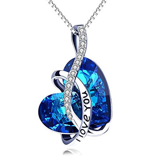 """Kette Sterling Silber\""""l Love You\"""" Halskette Damen mit Kristallen von SWAROVSKI Kristallherz"""