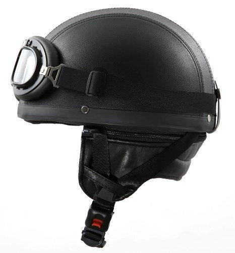 ATO-Moto Retro Oldtimer Helm mit Leder bezogen und Fliegerbrille Größe (L 59/60cm)