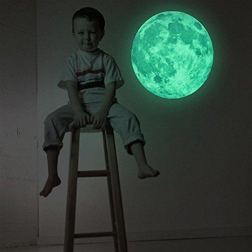 Tongshi 30cm 3D luna grande Aplique fluorescente engomada desprendible resplandor en la etiqueta engomada oscura
