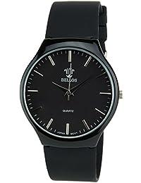 BELLOS - Damen Armbanduhrschwarz Quarz Stahl Analog Display Typ stilvoll Sport Modus Armband schwarzSilikon