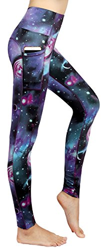 Munvot Tailored Geschenke Schön Galaxy Printed Tummy Control Yoga Pants Sport Leggings Blickdichte Leggings Hohe Taille Strumpfhose Bunt Shapewear Strech Sweathose Geheimnisvolle Galaxie M (Elastische Taille Baumwolle Strumpfhosen)