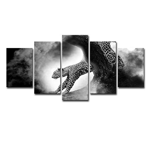 SUNSUNNY 5 Stücke Leinwand, EIN Sprung Cheetah Malerei Wand Künstler Wohnzimmer Dekoration Wohnzimmer Hd Druck Bild Schlafzimmer Dekorationen (kein Rahmen),M